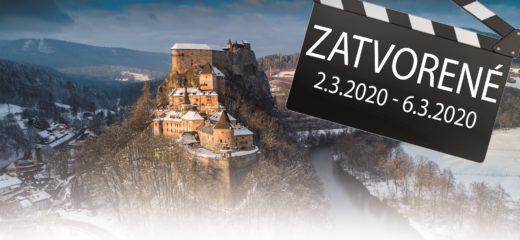 Oravský hrad od 2.3.2020 do 6.3.2020 pre verejnosť zatvorený